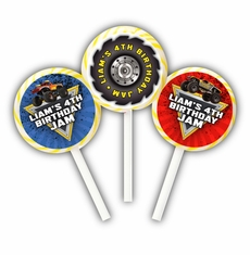 Monster Jam Party Personalized Lollipop Favors