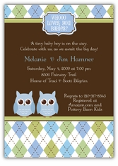 Night Owl Argyle Twin Boys Baby Shower Invitation