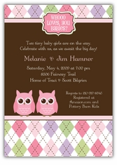 Night Owl Argyle Twin Girls Baby Shower Invitation