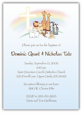 Noah's Ark Baptism Boy Twins Invitation