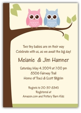 Personalized themed twin baby shower invitations amys card owls on a limb girl boy twins baby shower invitation filmwisefo