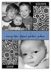 Paisley Block Black & White Multi-Photo Holiday Card