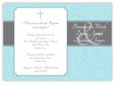 Paisley Plaque Boy Triplets Baptism Invitation