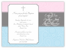Paisley Plaque Girl Boy Triplets Baptism Invitation