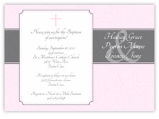 Paisley Plaque Girl Triplets Baptism Invitation