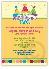 Party Hats B&G Triplets Birthday Invitation