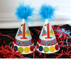 Party Hats Theme Twins Birthday<br>Personalized Party Hats