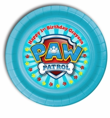 "Paw Patrol Birthday Personalized Party Plates 7"" Cake & Snack Size"