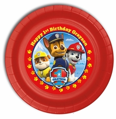 "Paw Patrol Birthday Personalized Party Plates 9"" Meal Size"