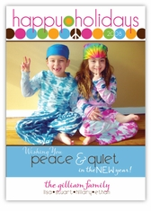 Peace Tie Dye Dots Photo Holiday Card