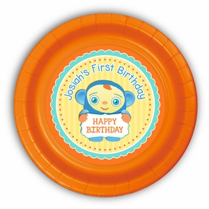 "Peek-A-Boo Personalized Party Plates 9"" Meal Size"