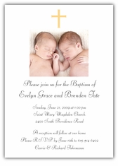 Photo Girl Boy Twins Baptism Invitation