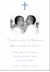 Photo Twin Boys Baptism Invitation