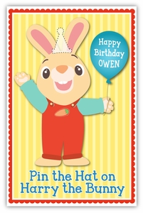 Pin the Party Hat on Harry the Bunny Party Game