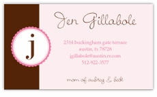 Pink Monogram Stamp Calling Card