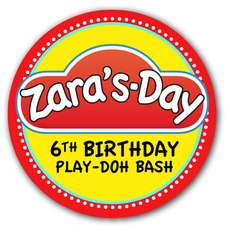 "Play-Doh Birthday Party Personalized 2.25"" Glossy Stickers"