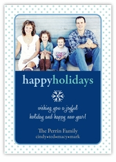 Polka Dot Edges in Blue Photo Christmas Card