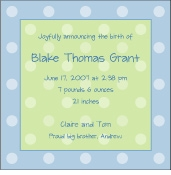 Polka Dots on Square Boy Birth Announcement