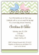 Precious Prams Chevron Girl-Boy Twin Baby Shower Invitation