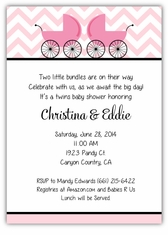 Precious Prams Chevron Pink & Black Girl Twins Baby Shower Invitation