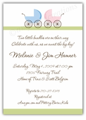 Precious Prams Girl-Boy Twin Baby Shower Invitation