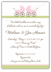 Precious Prams Girl Twins Baby Shower Invitation