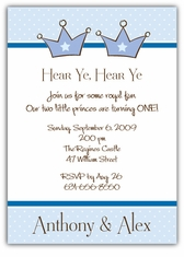 Mickey minnie twin first birthday party invitations amys card prince party boy twins birthday invitation filmwisefo
