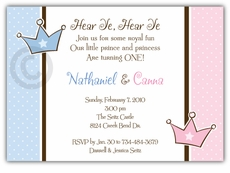 Prince Princess Girl Boy Twins Birthday Invitation