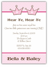 Princess Party Girl Twins Birthday Invitation