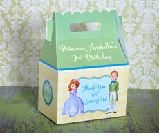 Princess Sofia the First Party Gable Favor Box<br>Sofia & James with Green