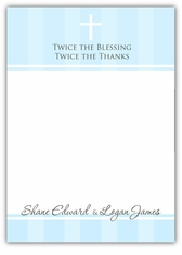 Pure Class Baptism Twin Boys Thank You Note Card