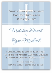 Pure Class Boy Twins Baptism Invitation