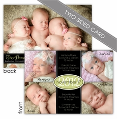 Quad of Grace Two Sided Boy-Girl Quadruplets Photo Birth Announcement