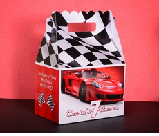 Red Race Car Checkered Flag Racing Party Gable Box Favor