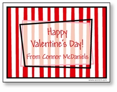 Red Stripes Personalized Valentine