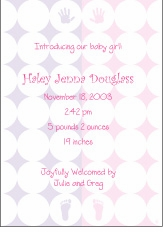 Retro Circles Girl Birth Announcement