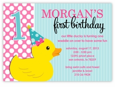 Personalized kids birthday cards party invitations amys card rubber ducky baby girl birthday invitation filmwisefo Image collections