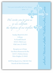 Serendipity Boy Triplets Baptism Invitation