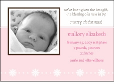 Serendipity Girl Holiday Photo Birth Announcement