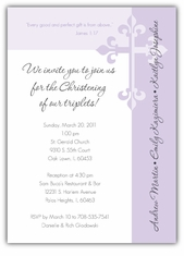 Serendipity Girl Triplets Baptism Invitation