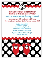 Seuss Spots Onesies Black Twins Baby Shower Invitation