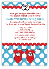 Seuss Spots Onesies Blue Twins Baby Shower Invitation