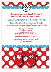 Seuss Spots Onesies Red Twins Baby Shower Invitation