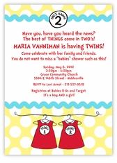 Seuss Spots Thing 1 & Thing 2 Baby Dresses Twins Baby Shower Invitation