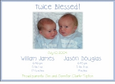 Simple Blue Border Horizontal Boy Boy Photo Birth Announcement