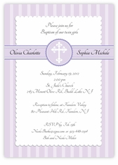 Simply Splendid Twins Baptism Invitation Lavender