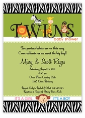 Splendid Safari Animals Twin Boys Baby Shower Invitation