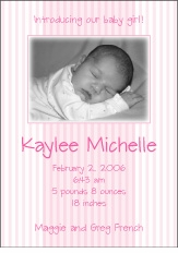 Splendid Stripes Girl Photo Birth Announcement