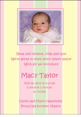 Stripes Girl Photo Birth Announcement