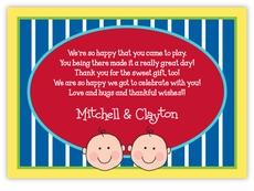 Baby Faces on Stripes Twin Boys Thank You Note Card